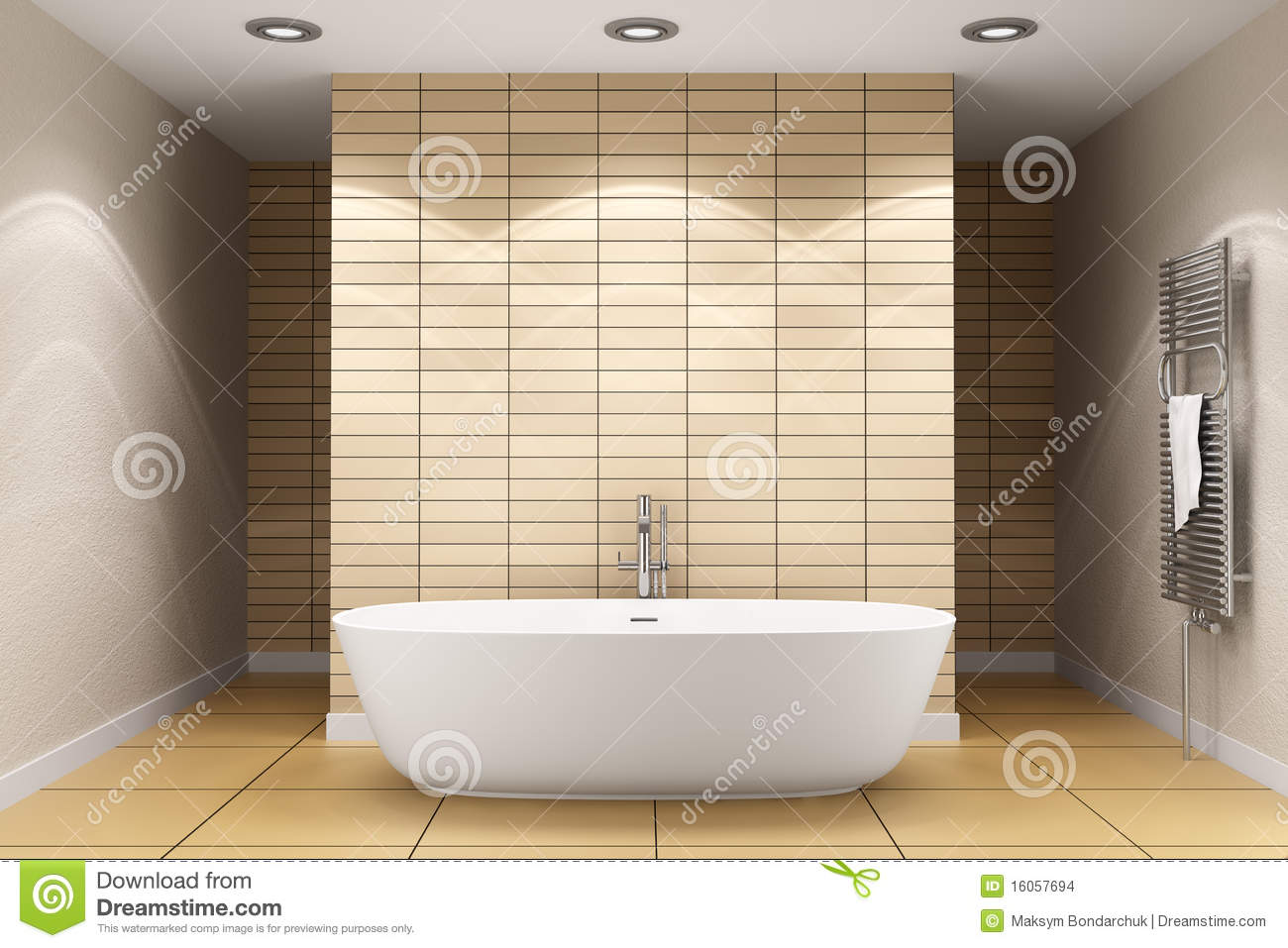 Modern Bathroom With Beige Tiles On Wall Stock Photo