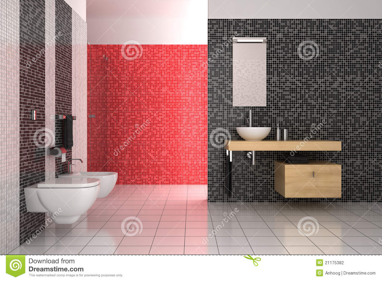 Modern Bathroom With Black, Red And White Tiles Stock