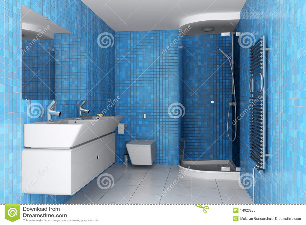 Modern Bathroom With Blue Tiles On Wall Stock Photo - Image of ...