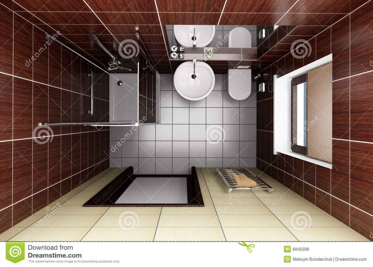 Modern bathroom with brown tiles top view stock photo Top view of bathroom