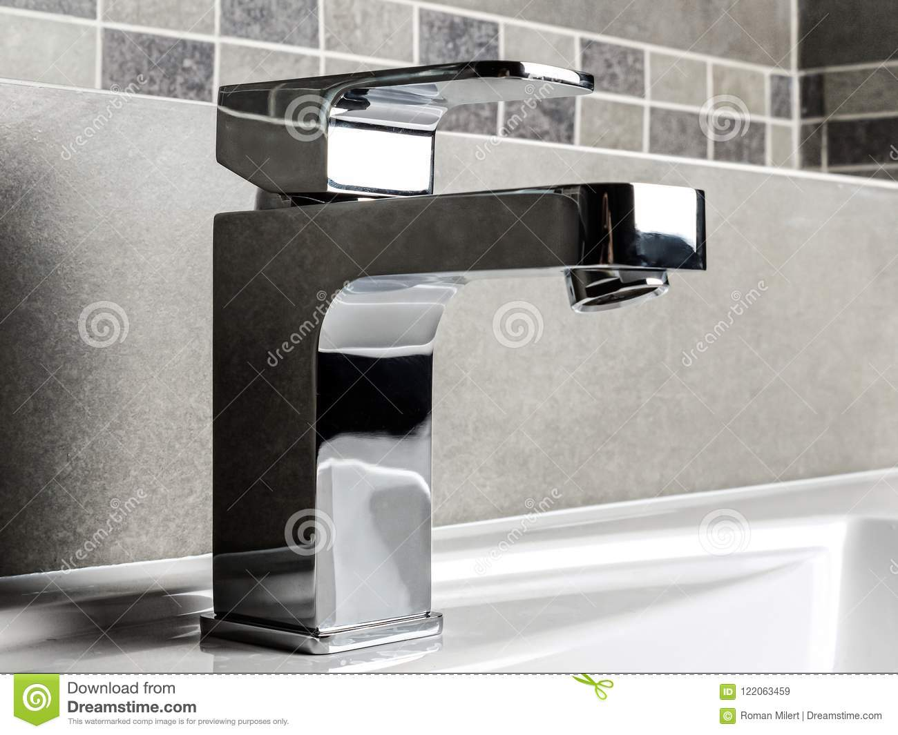 Bathroom chrome faucet stock image. Image of modern - 122063459