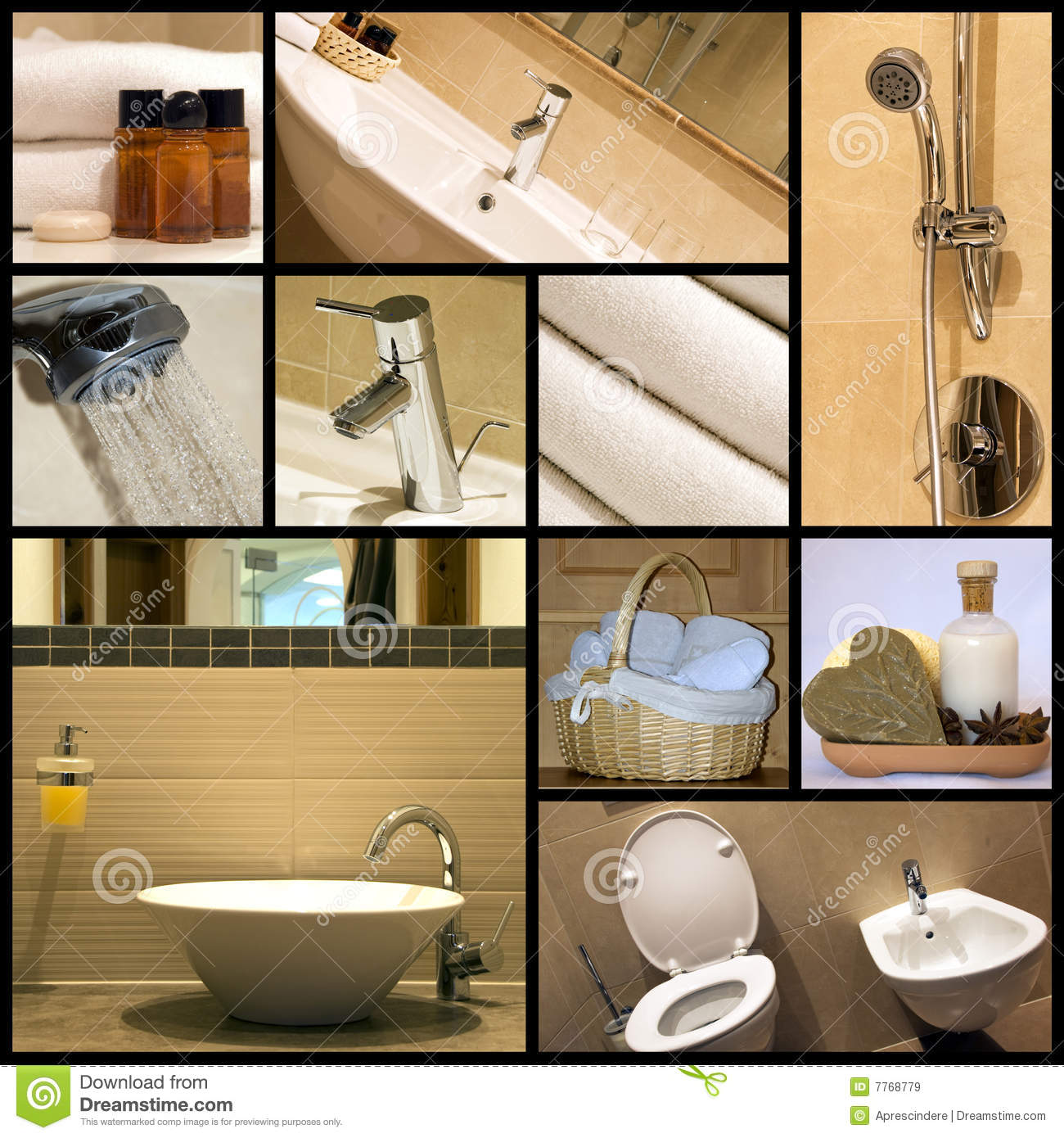 Modern Bathroom Collage Royalty Free Stock Images