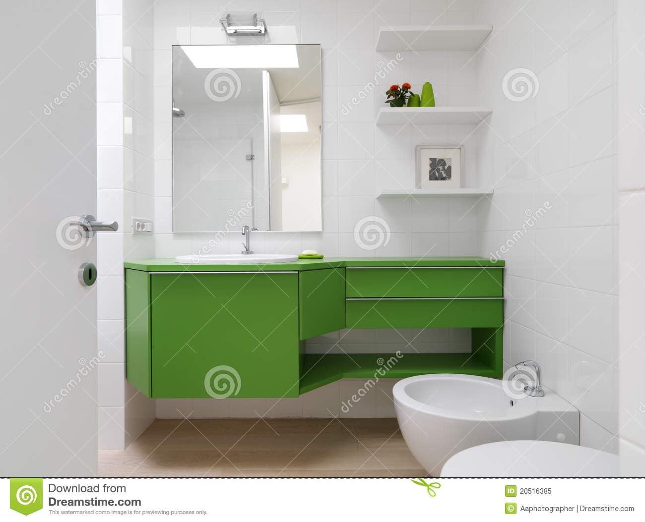 Modern Bathroom With Colorful Furniture Stock Image Image Of  # Muebles Para Toilet