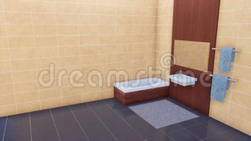 Modern Bathroom With Copy Space Bright Tiled Wall Stock Footage Custom Beige Tiled Bathrooms Minimalist