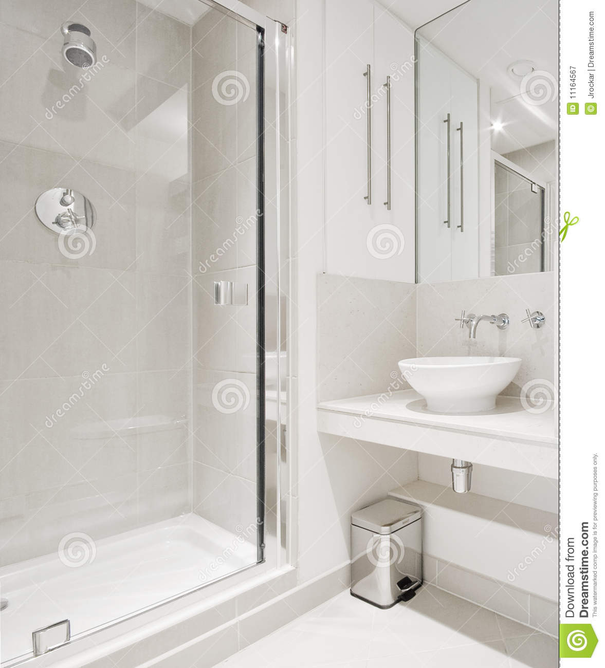 Modern Bathroom With Corner Shower Stock Image Image Of