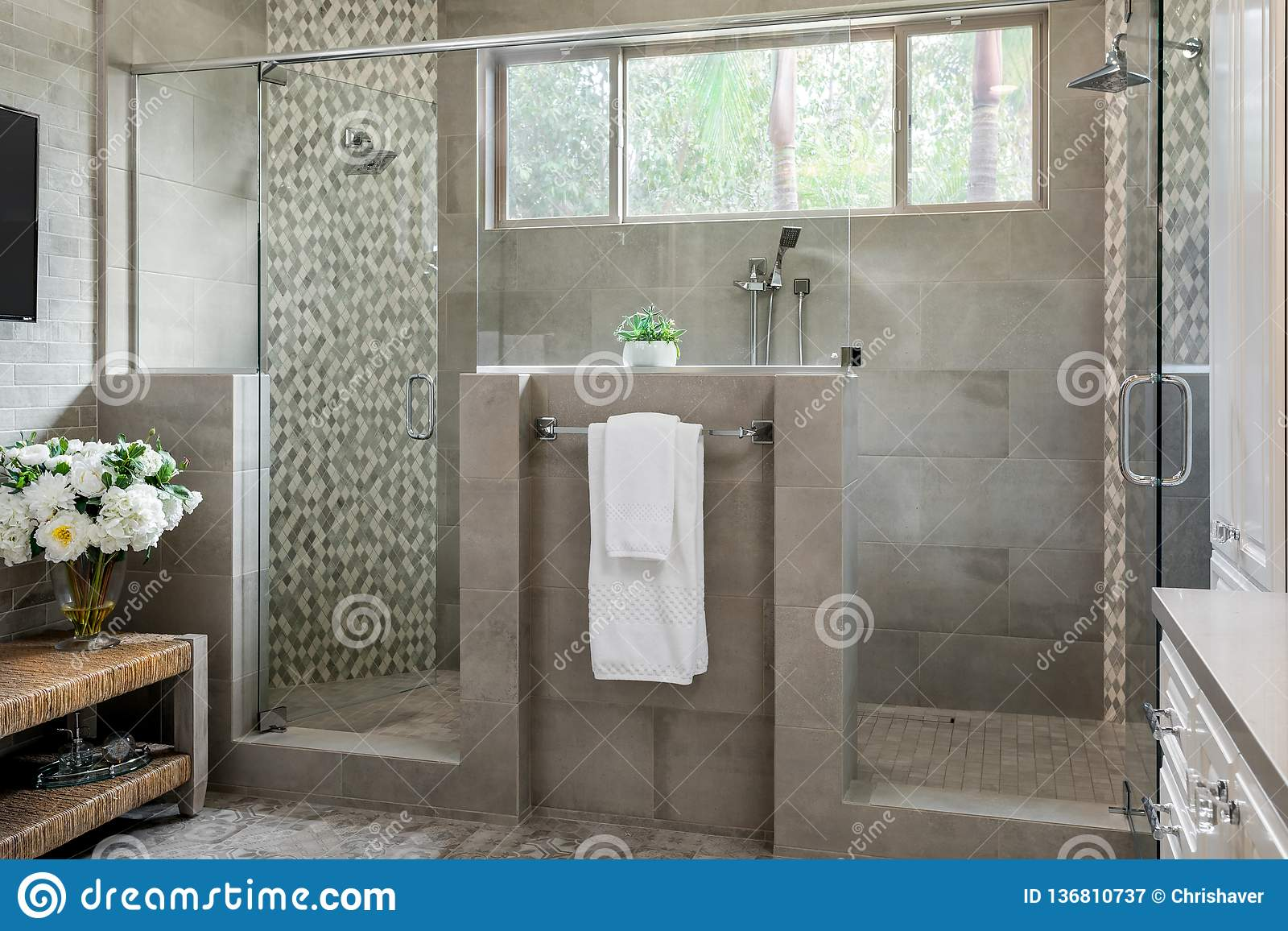 Modern Bathroom Design Large Shower Home Interiors Editorial Photography Image Of Remodel Large 136810737