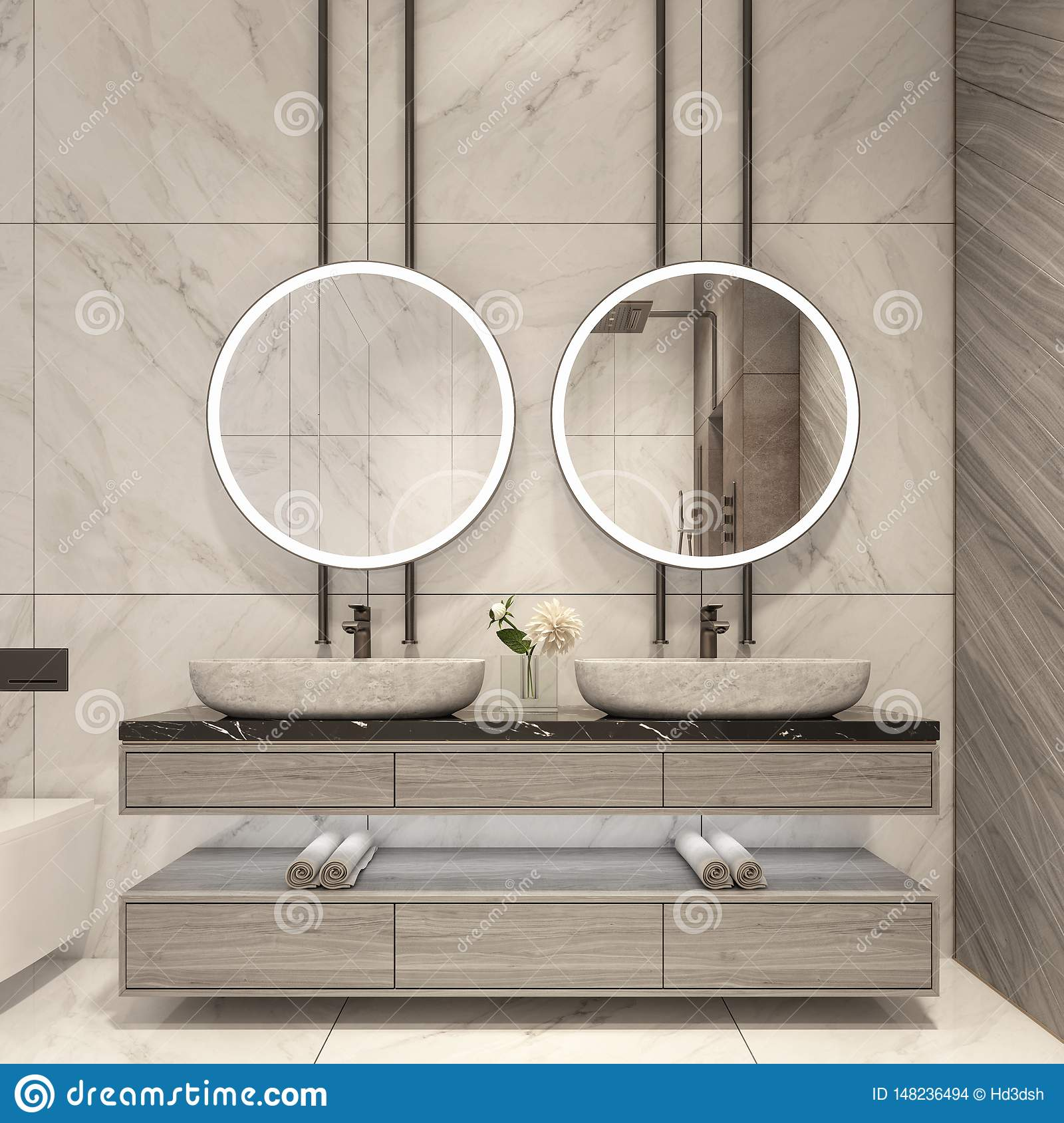 Modern Bathroom Design With White Marble Tiles Stock Photo Image Of Decoration Bathroom 148236494
