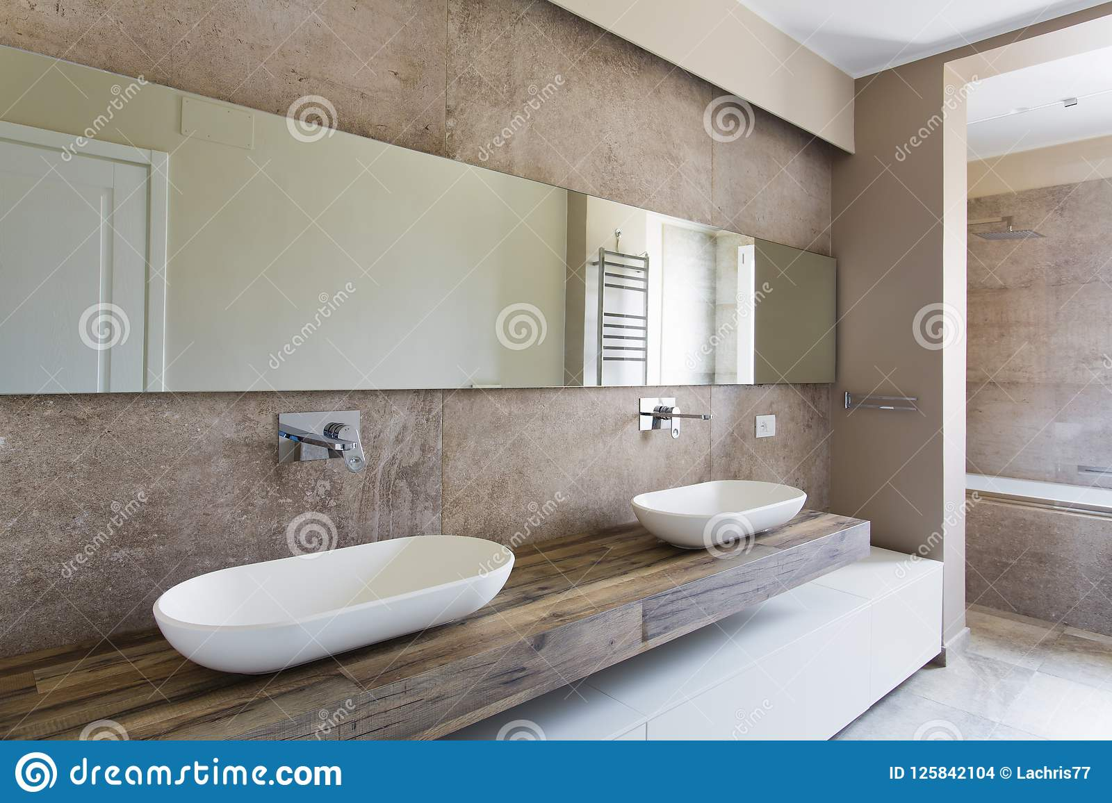 Modern bathroom with double sink stock photo image of hung