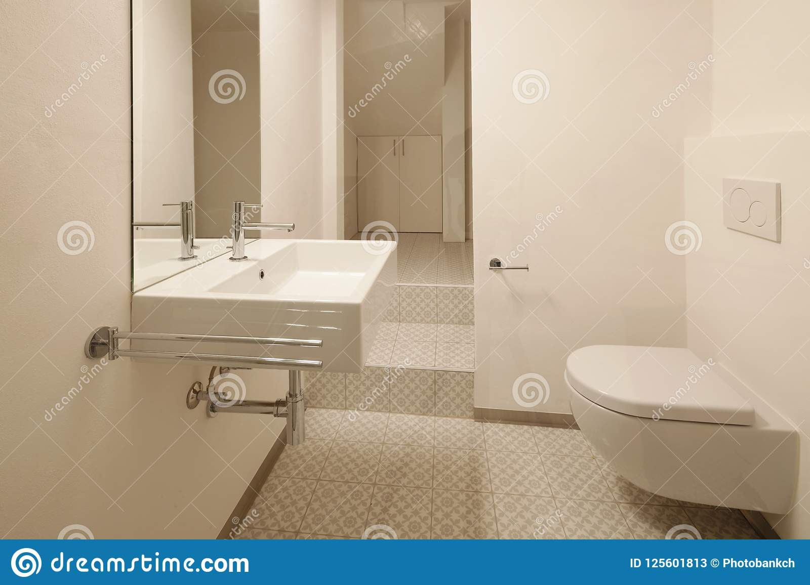 Modern Bathroom With Floor Tiles Stock Image - Image of building ...