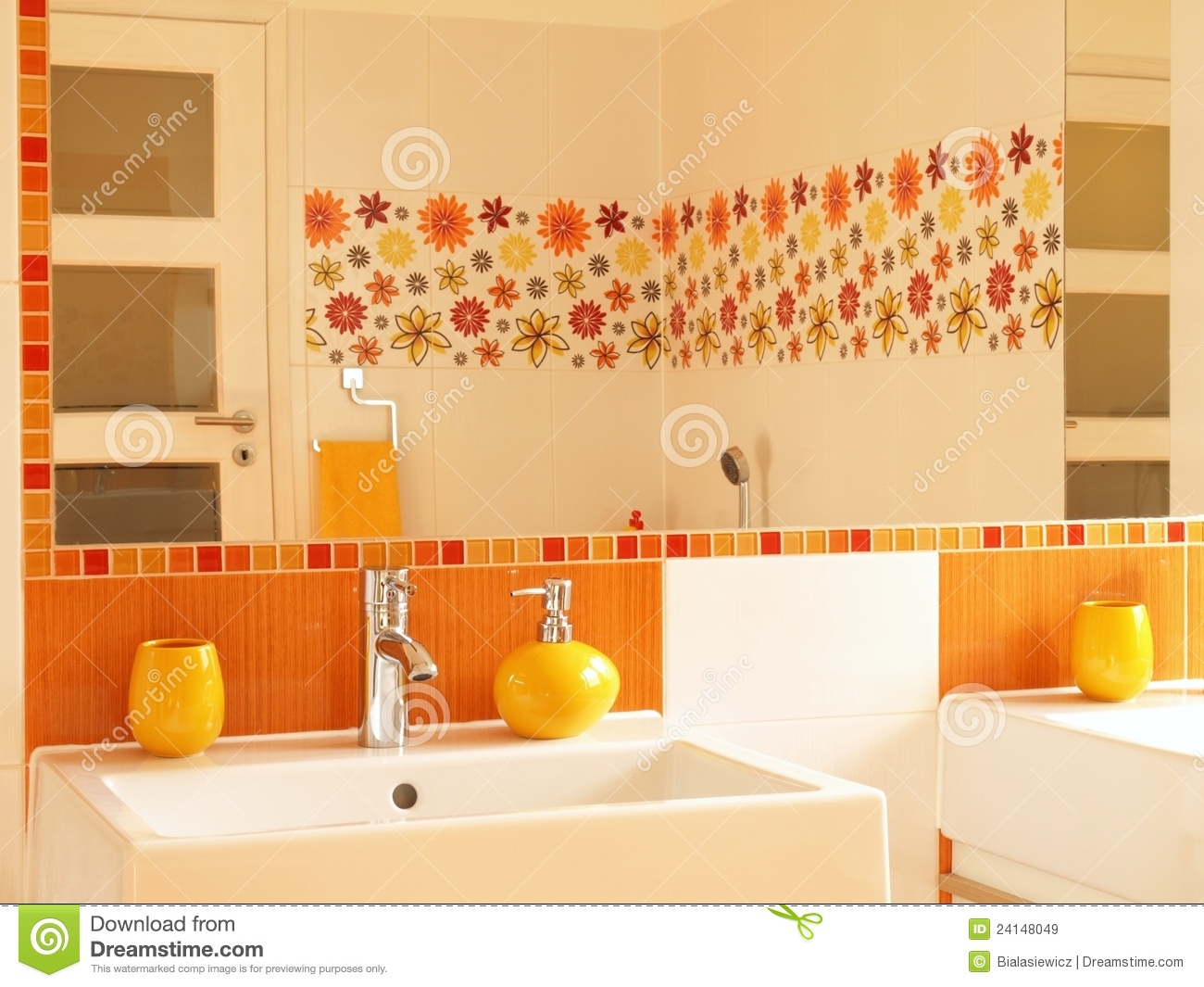 Modern Bathroom With Flower Decor Tiles Stock Image Image Of Furniture Tile 24148049