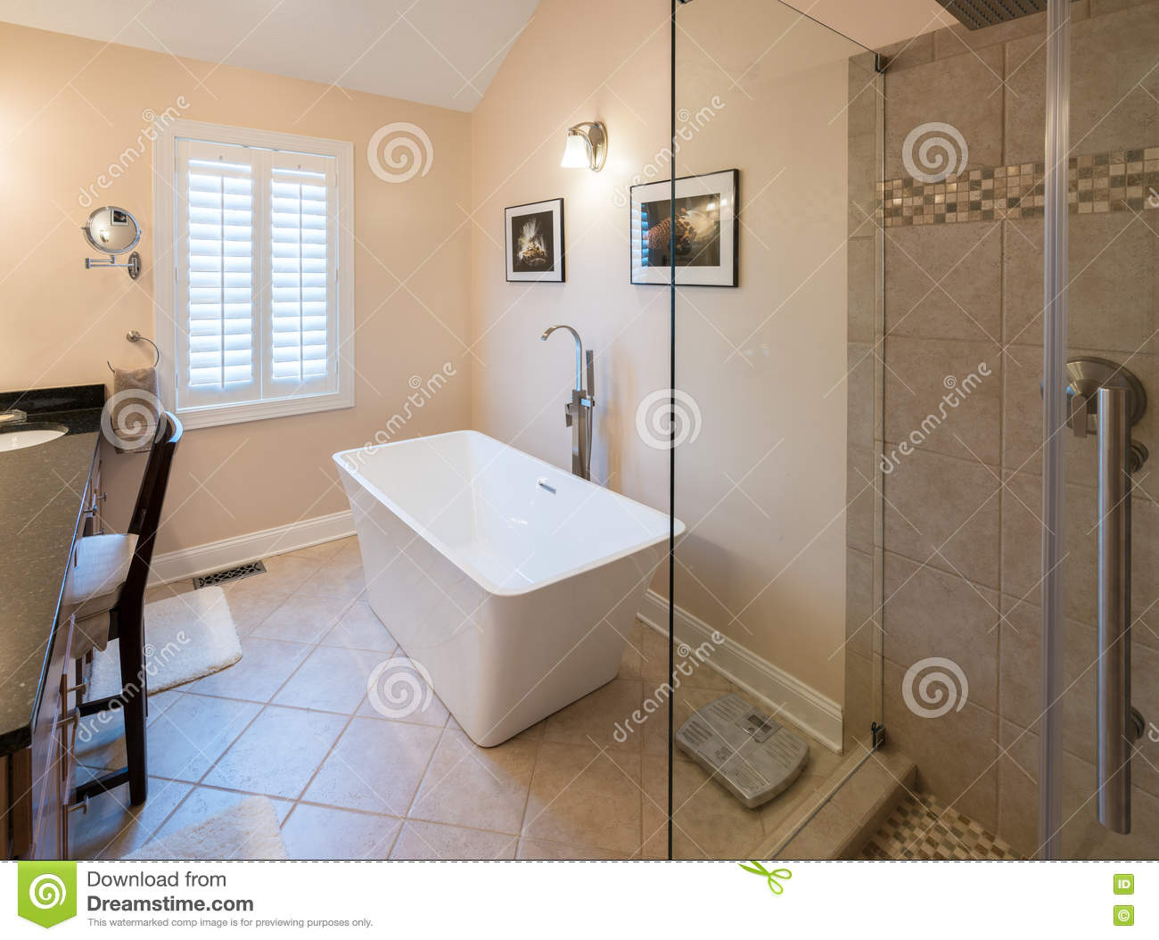 Modern Bathroom With Freestanding Tub And Shower Stock Image - Image ...
