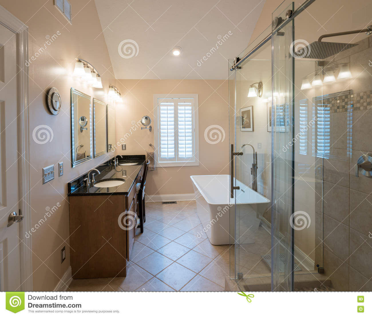 Modern Bathroom With Freestanding Tub And Vanity Stock Photo - Image ...