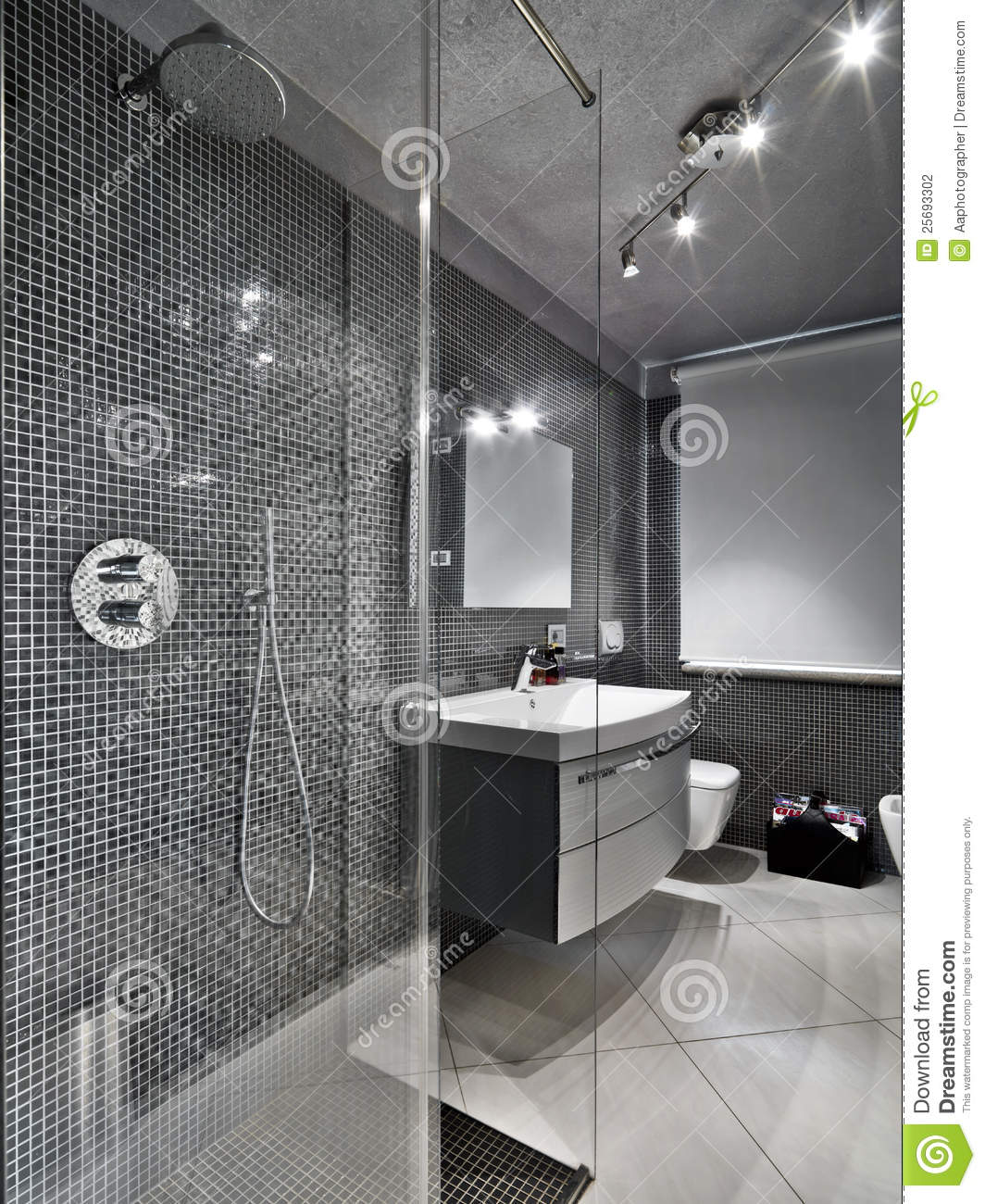 Modern Bathroom With Glass Shower Cubicle Stock Photo - Image of ...