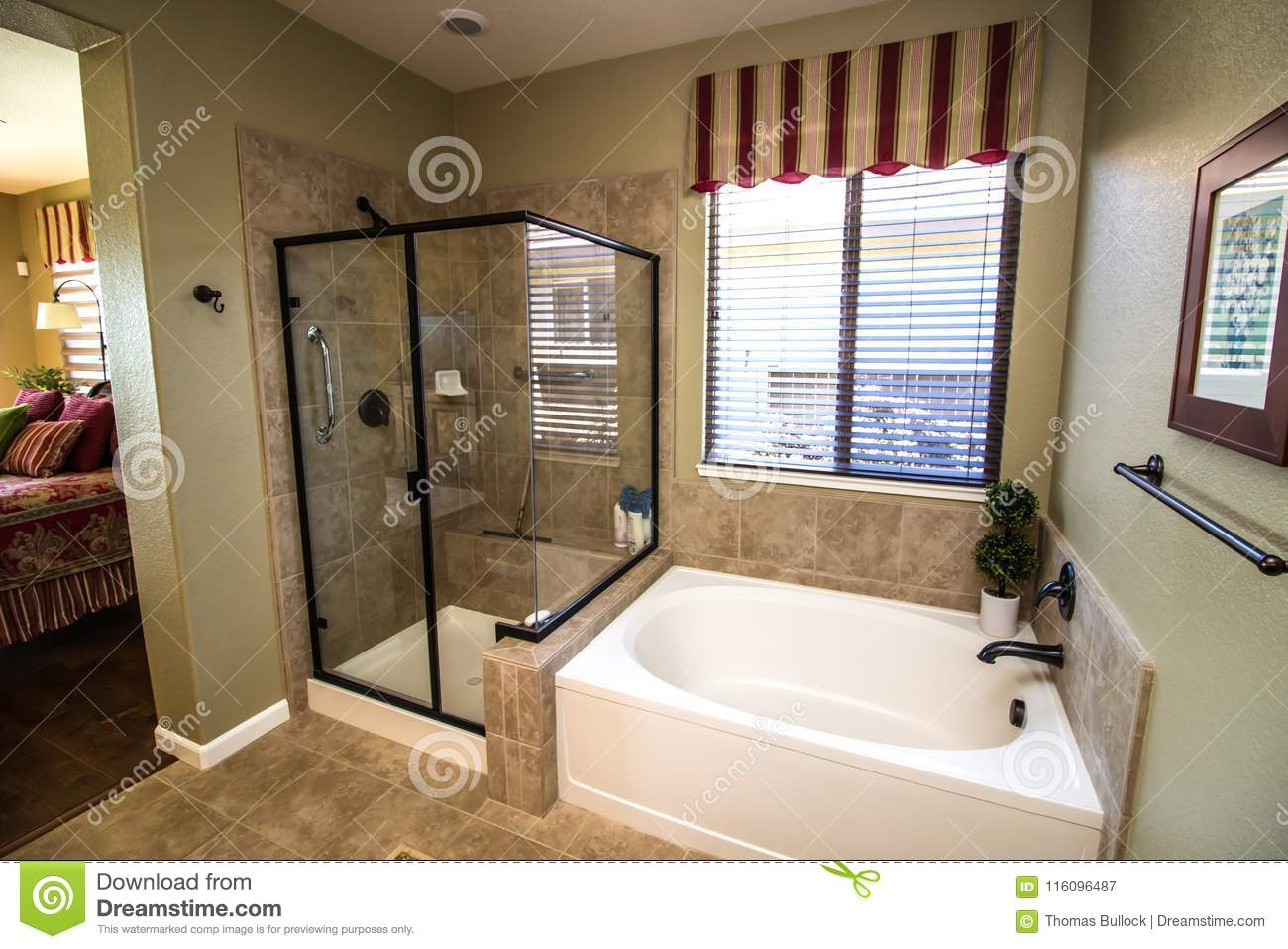 Modern Bathroom With Glass Shower And Tub Stock Image Image Of Ground Rocks 116096487
