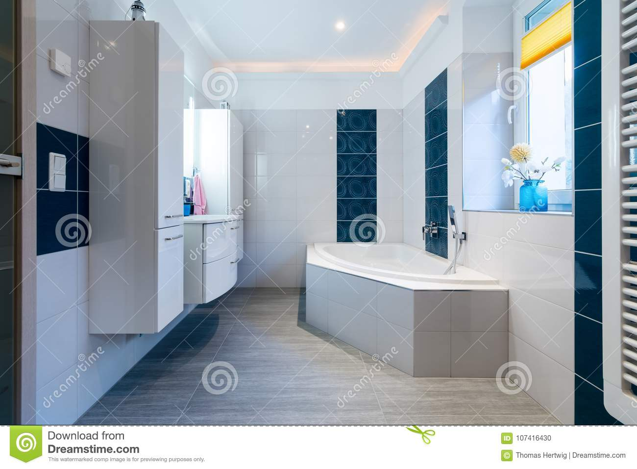 Modern Bathroom - Glossy White And Blue Tiles - Bathtub, Sink And ...