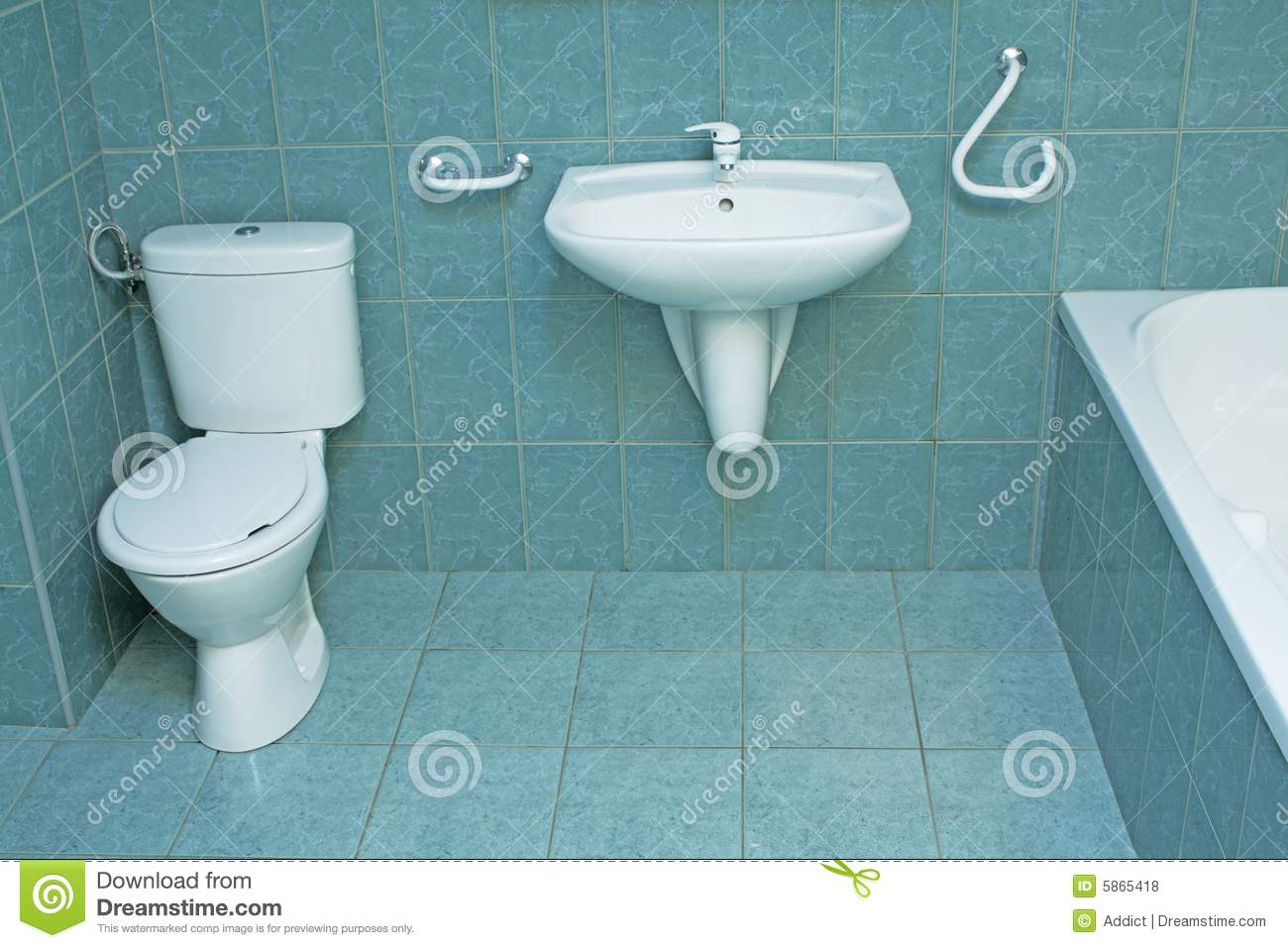 Modern Bathroom With Green Floor Tiles Stock Photo Image of