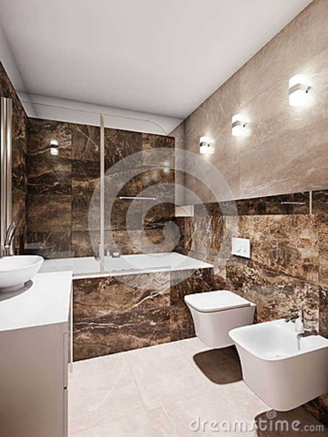 Modern Bathroom Interior With Beige And Brown Marble Tiles