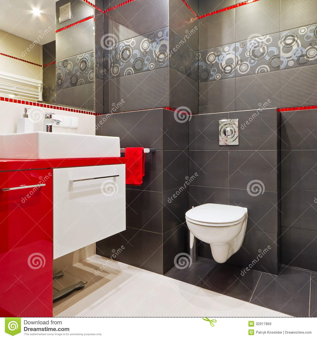 black white and red bathroom accessories modern bathroom interior stock image image of interior 25158