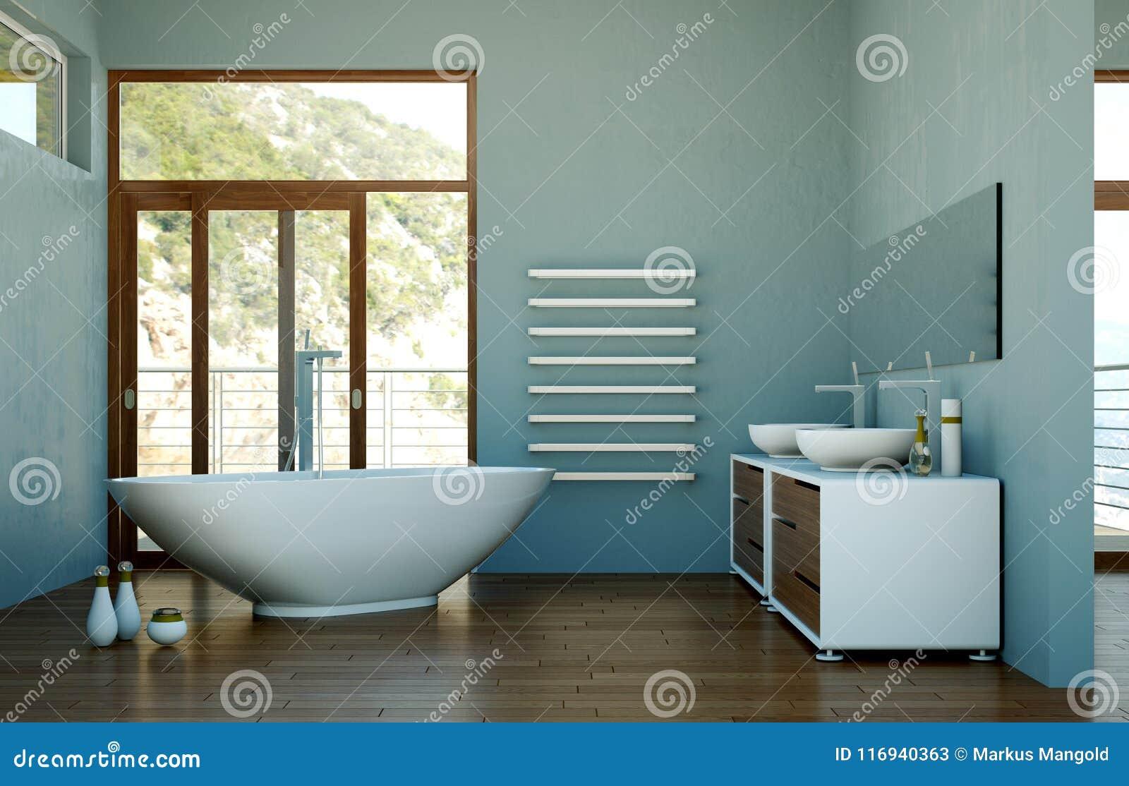 Modern Bathroom Interior 3d Rendering With Door Stock Illustration ...