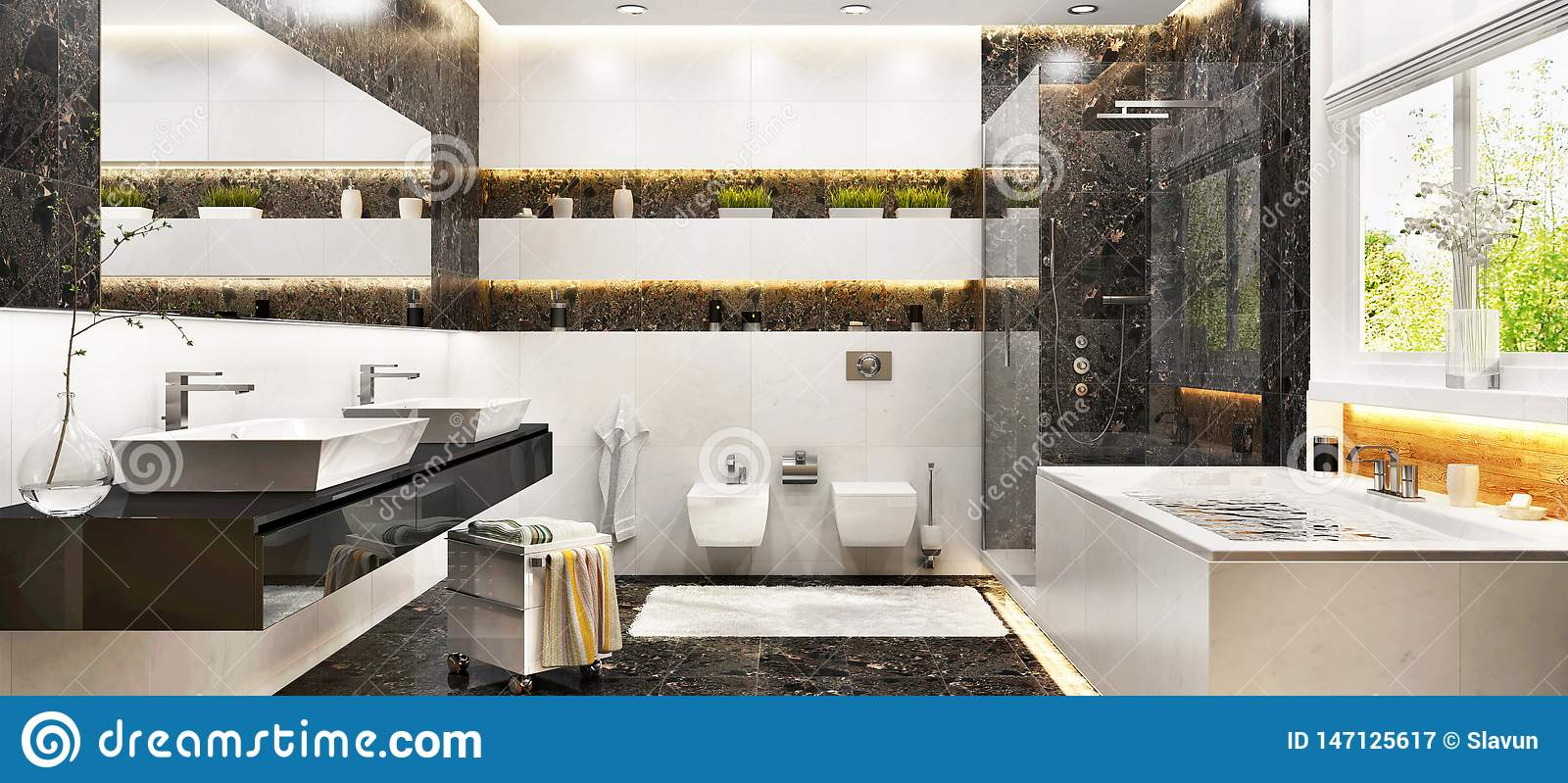 Modern Bathroom Interior Design With White And Black Marble Stock Image Image Of Luxury House 147125617