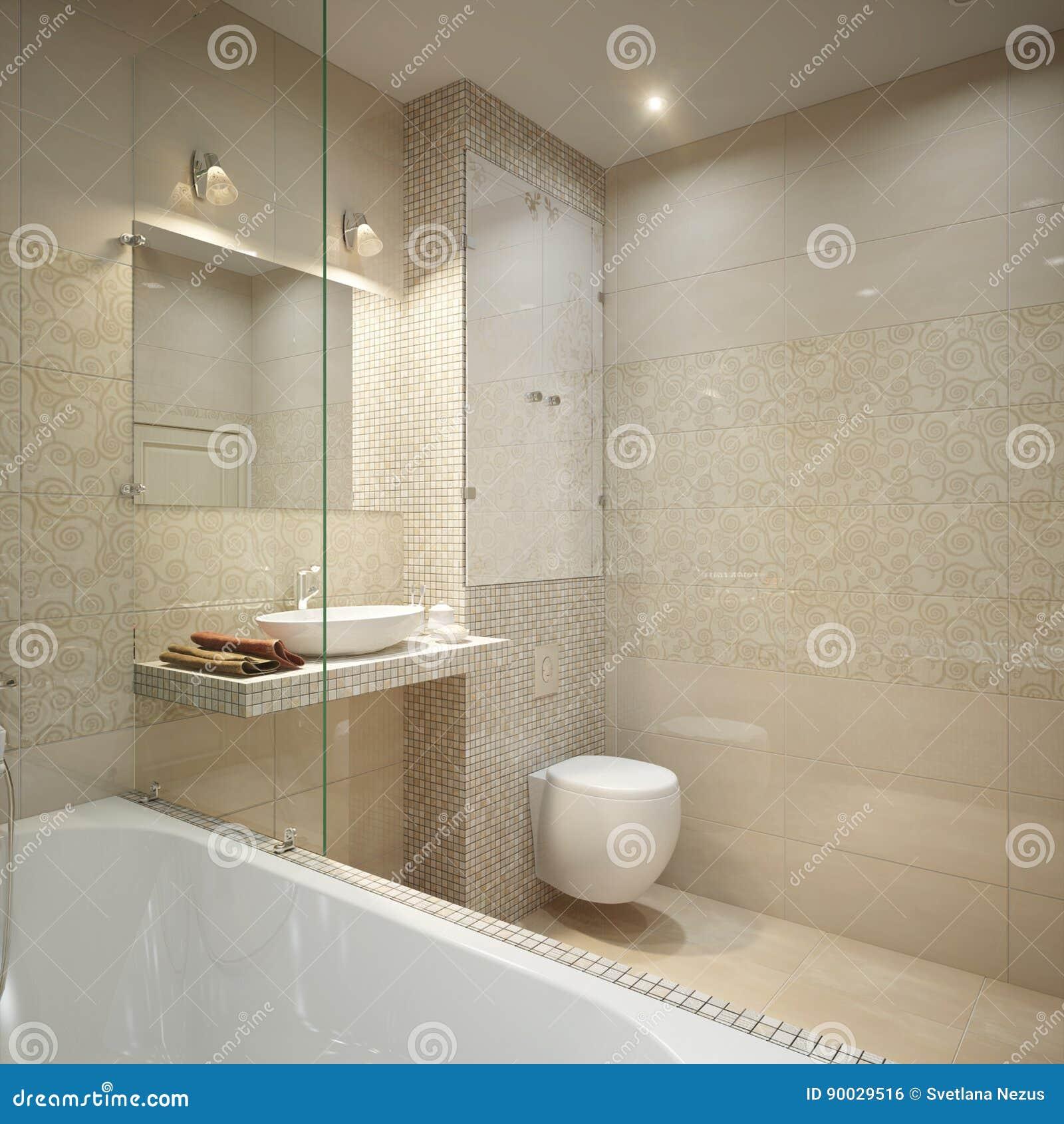 Modern Bathroom Interior Design Stock Illustration - Illustration of ...
