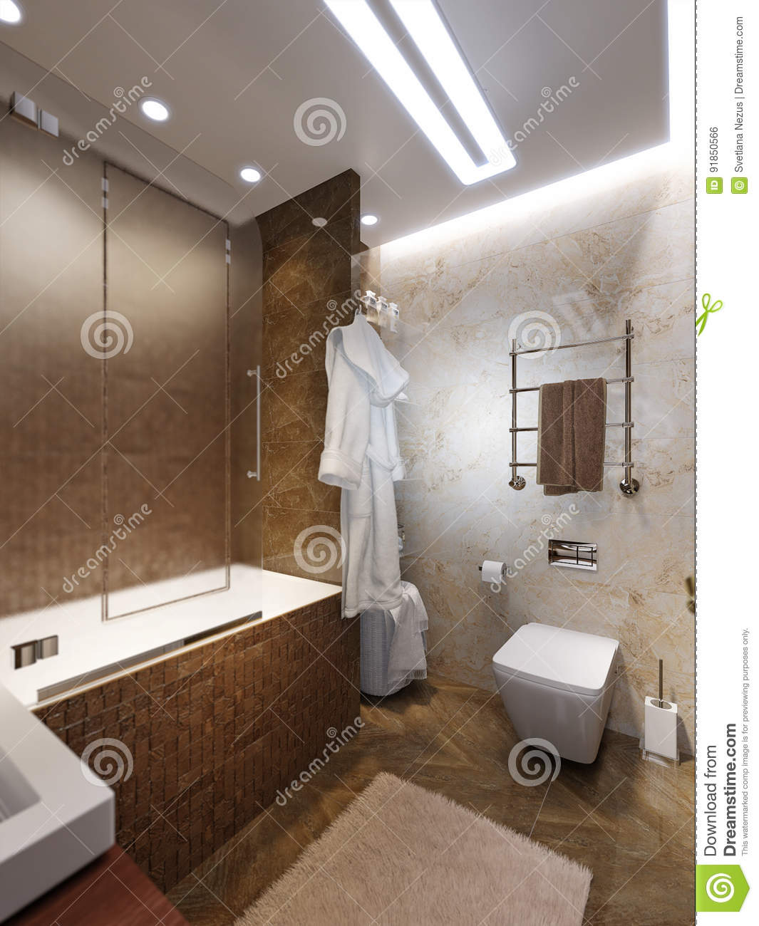 Modern Bathroom Interior Design With Brown And Beige Marble Tile