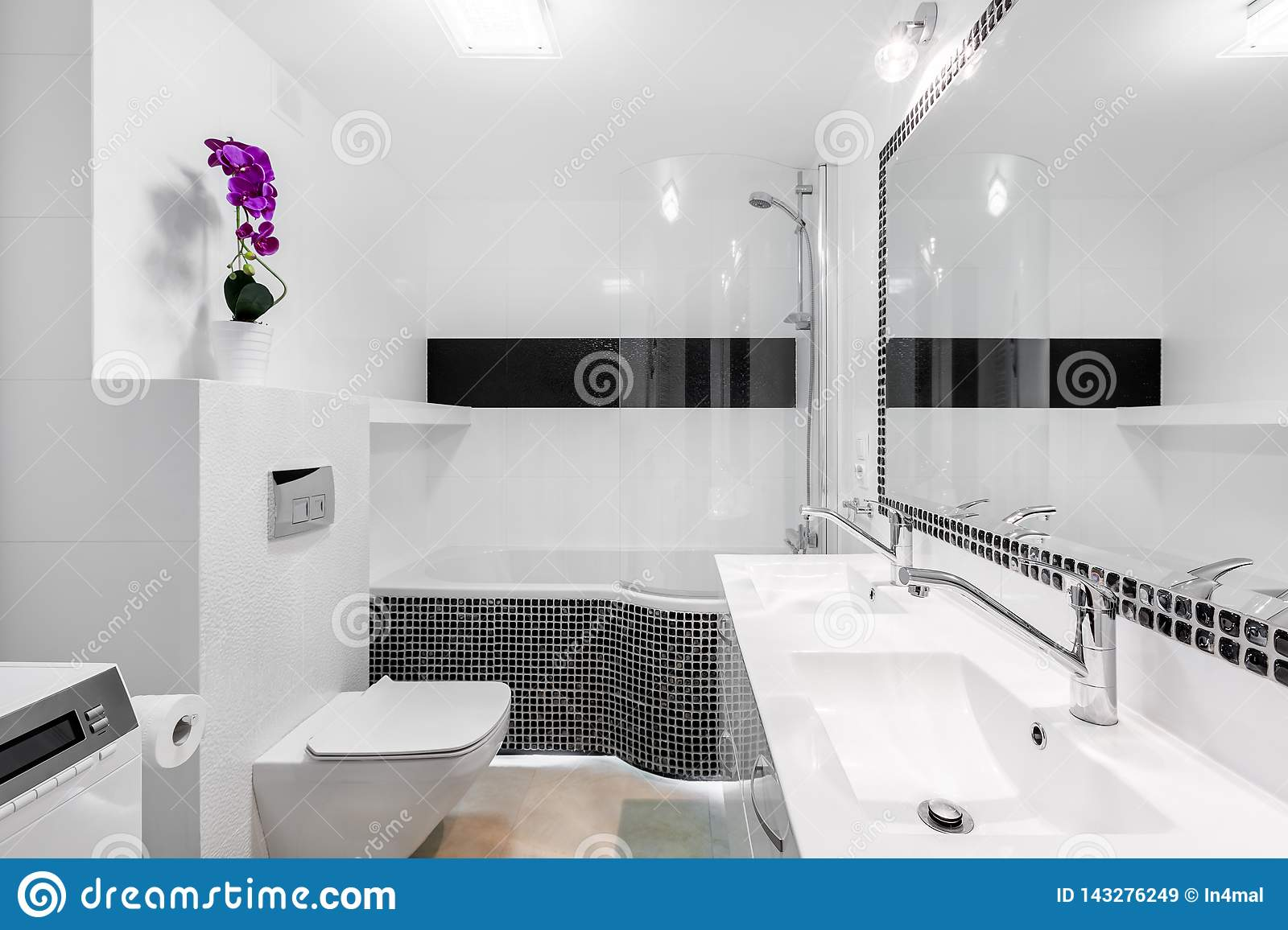 Modern White Bathroom Interior With Black Accents Stock Image Image Of Luxury Cabinets 143276249