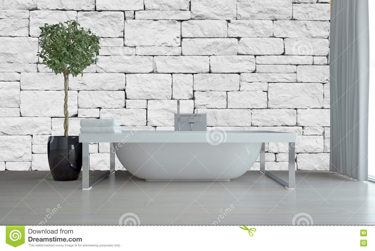 modern bathroom interior with freestanding tub stock photo - image