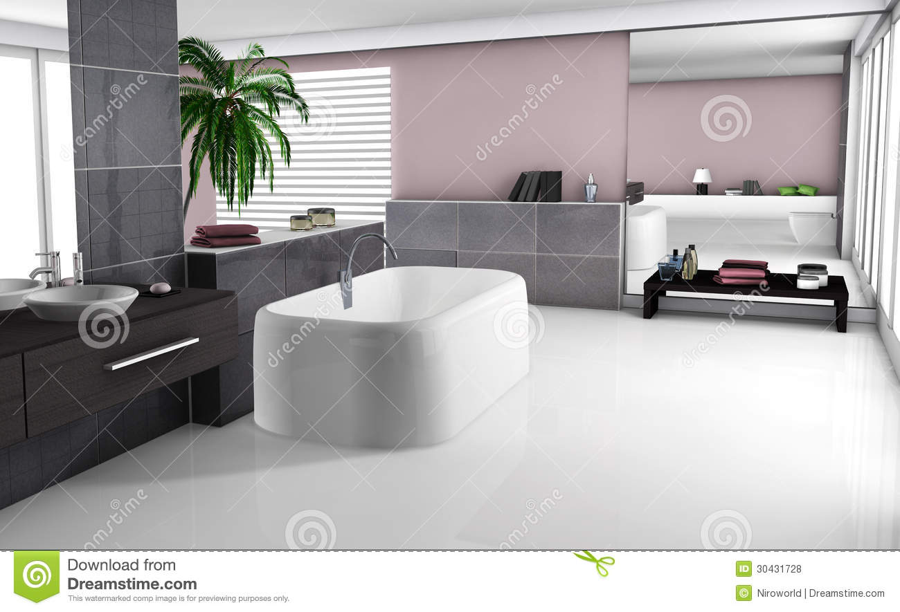 Modern Bathroom Interior Stock Illustration Illustration Of