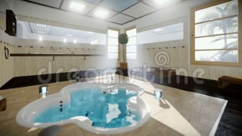 Modern bathroom interior with jacuzzi and wine tilt stock footage