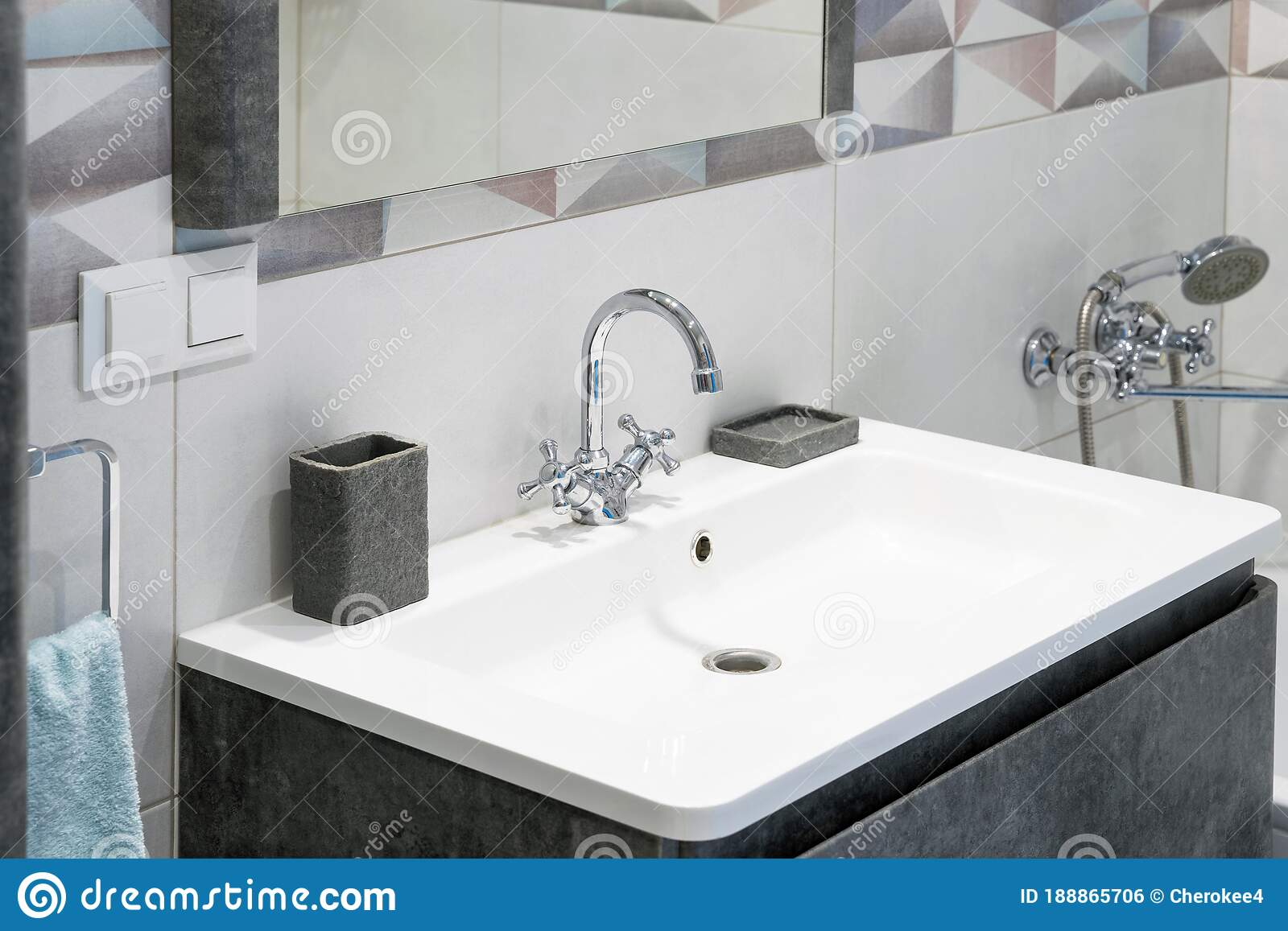 Modern Bathroom Interior With Metal Faucet And Ceramic White Sink Bath Accessories And Mirror Stock Photo Image Of Bath Apartment 188865706