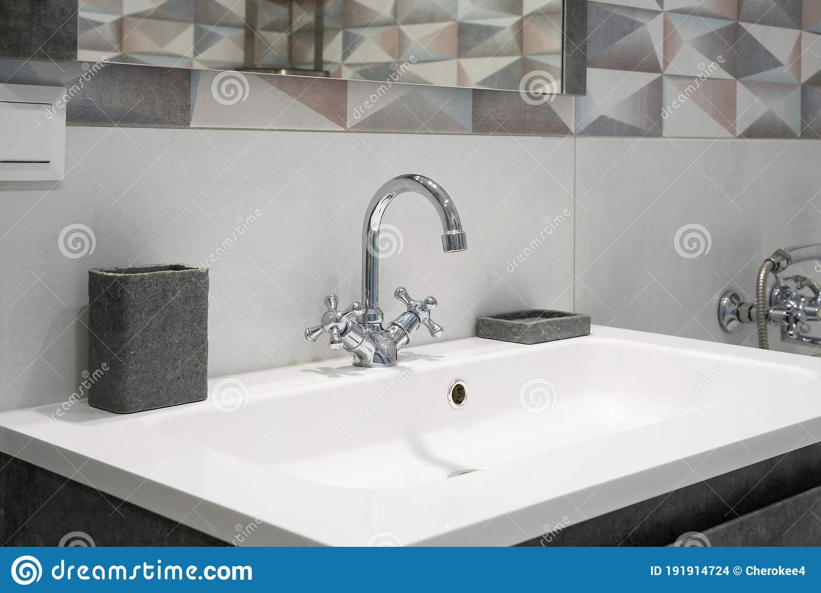 Modern Bathroom Interior With Metal Faucet And Ceramic White Sink Bath Accessories And Mirror Stock Photo Image Of Plumbing Bath 191914724
