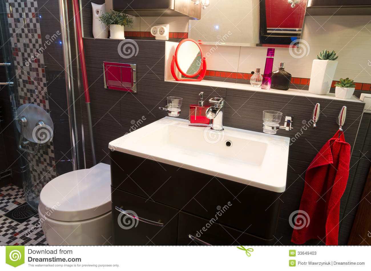 Modern bathroom interior with red accents stock photos for Red accent bathroom