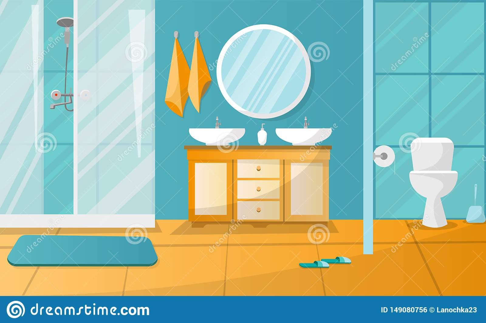 Modern bathroom interior with shower cabin. Bathroom furniture - stand with two sinks, towels, liquid soap, roundl mirror, toilet