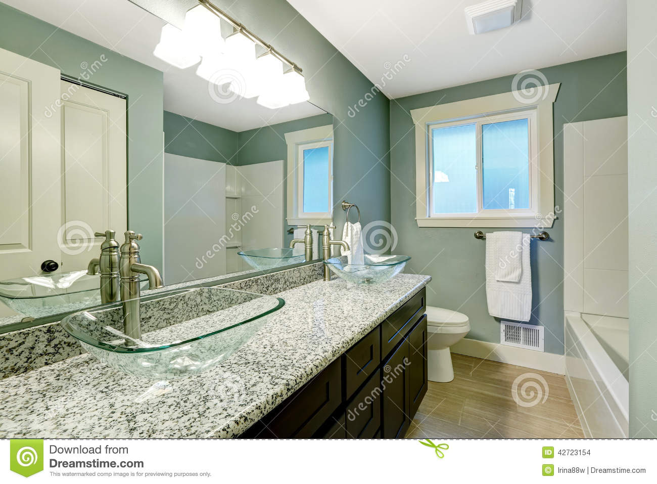 Modern bathroom interior in soft aqua color stock photo for Cabinet salle de bain