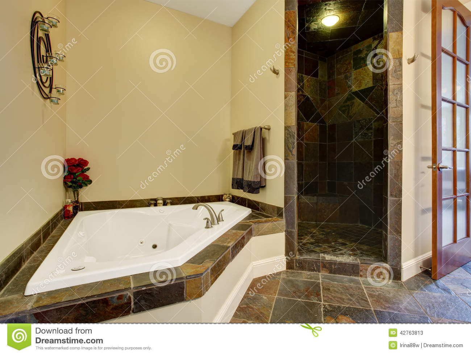 Modern Bathroom Interior With Tile Shower Trim Stock Photo