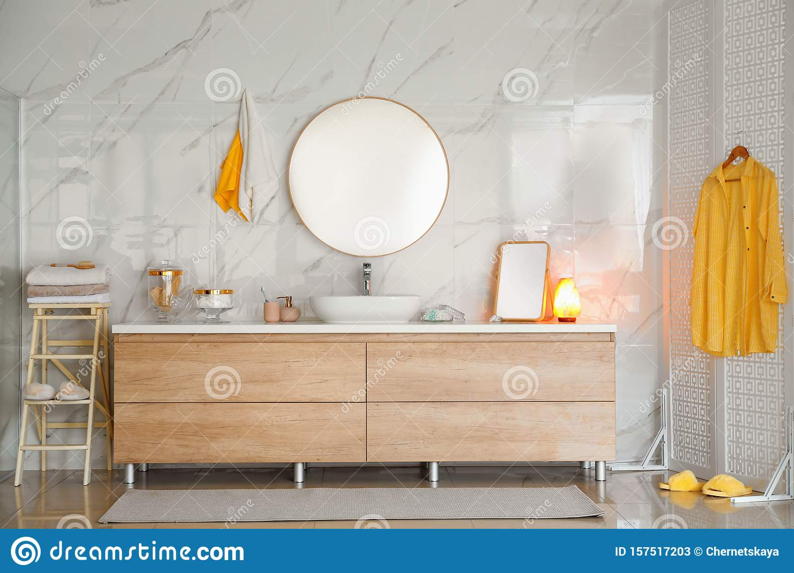 Picture of: Modern Bathroom Interior With Vessel Sink And Mirror Stock Image Image Of House Comfort 157517203