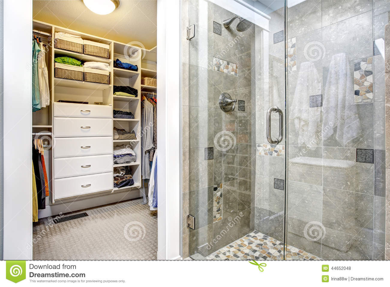 Walk In Closet Design Ideas Plans   Modern Bathroom Interior With Walk In  Closet Stock