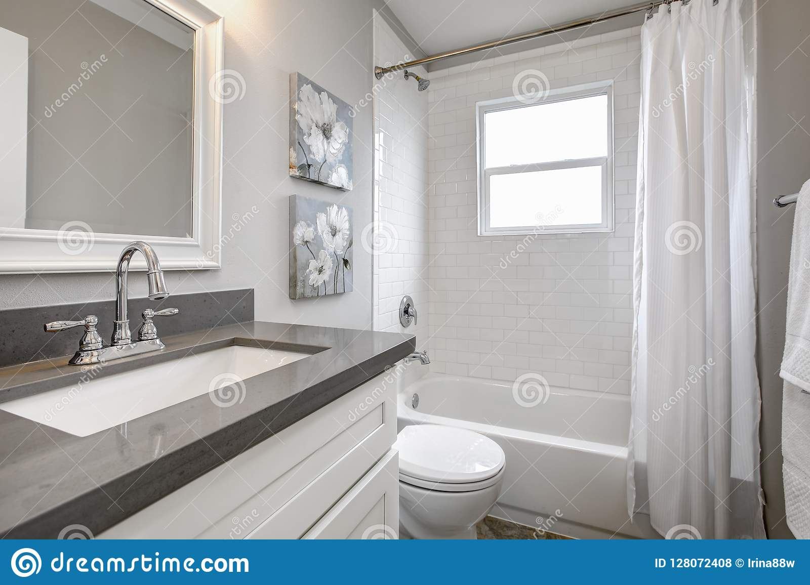 Modern Bathroom Interior With White Vanity Topped With Gray Countertop Stock Photo Image Of Project Glass 128072408
