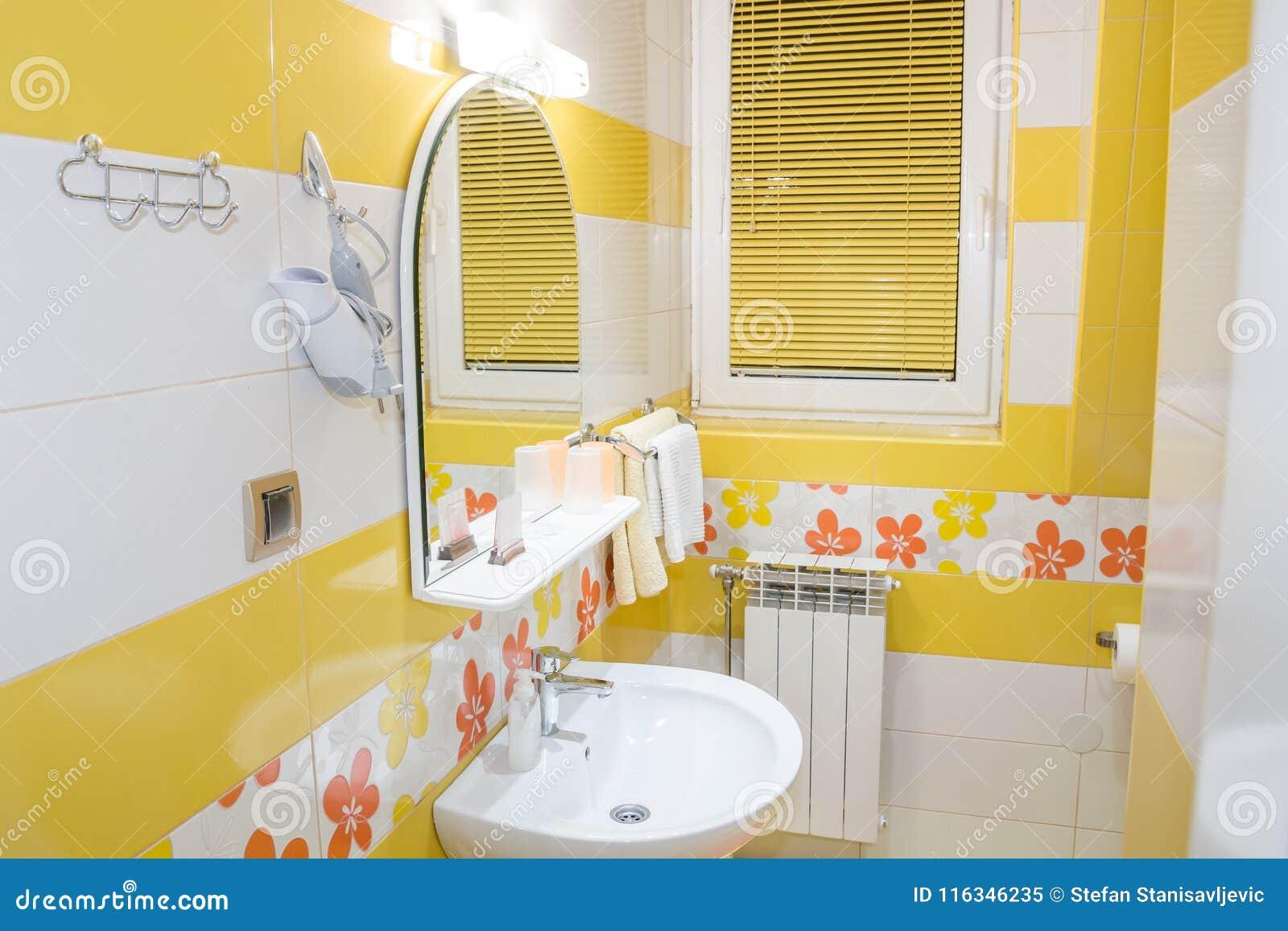 Yellow Bathroom Interior Stock Image Image Of Mirror 116346235 Download yellow bathroom decorating