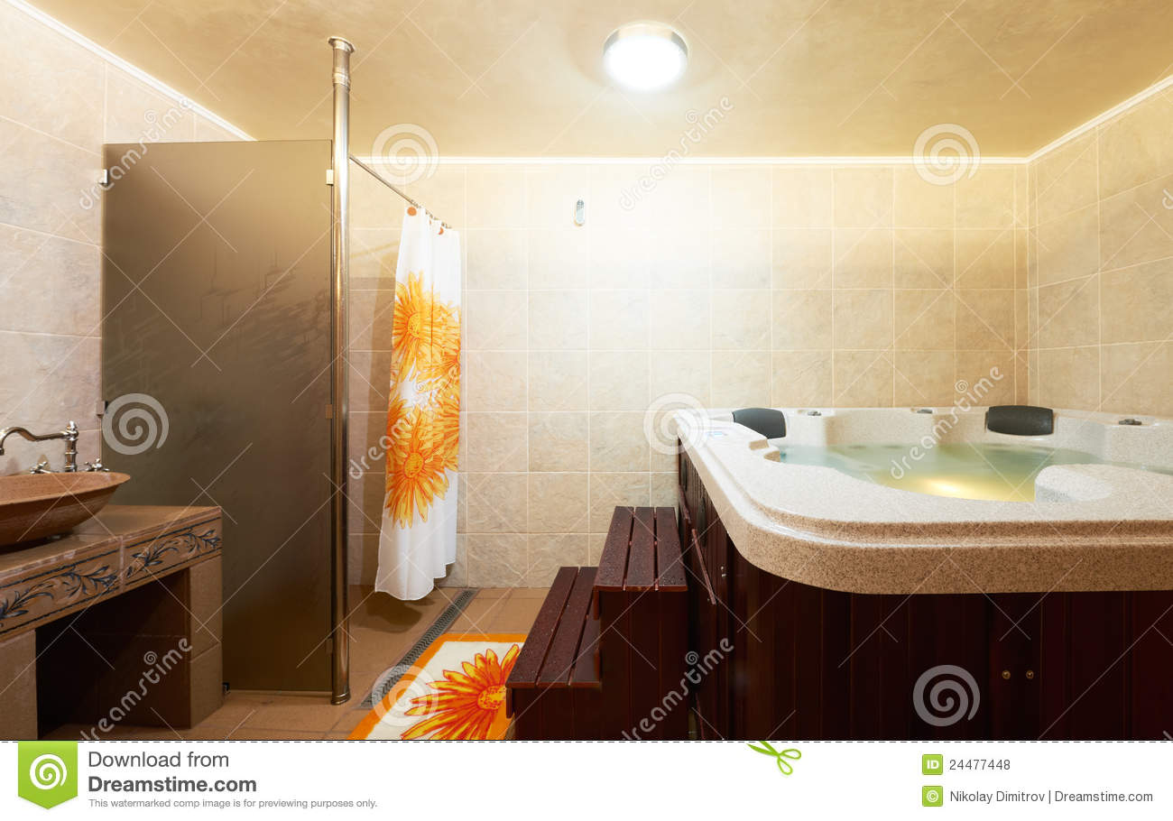 Modern bathroom with jacuzzi stock photo image of maiolica