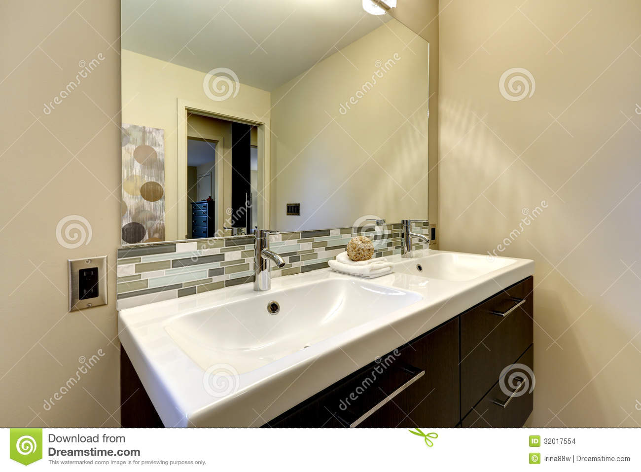 Modern Bathroom Large Double White Sink With Mirror Stock