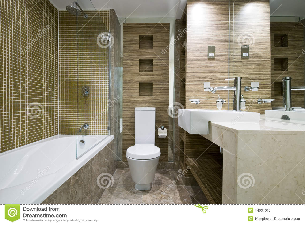 Modern bathroom with marble floor and mosaic tiles stock for Modern bathroom flooring