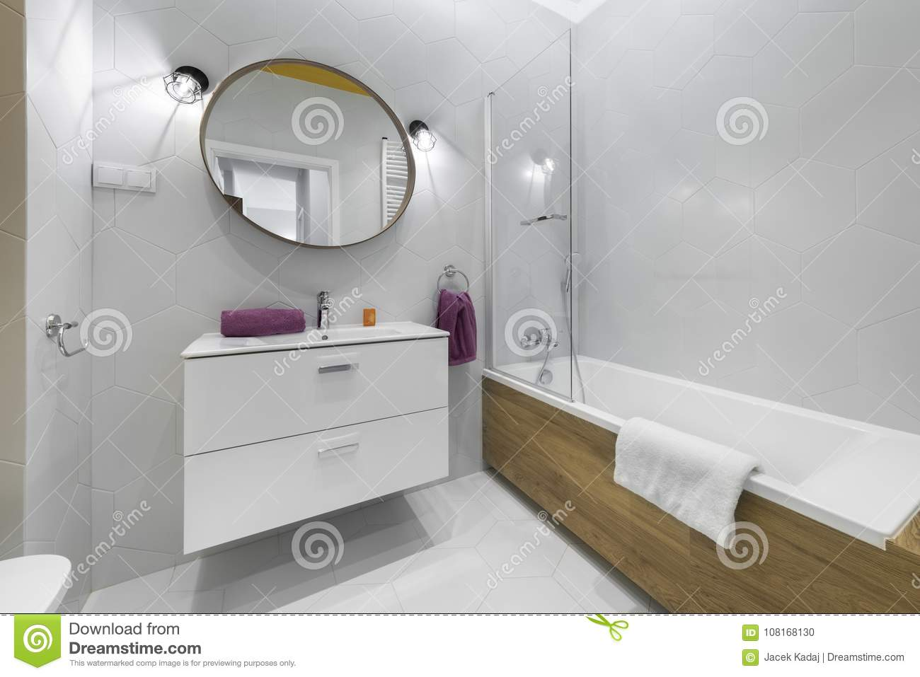 Modern Bathroom With Oval Mirror Stock Photo Image Of Architecture Housing 108168130