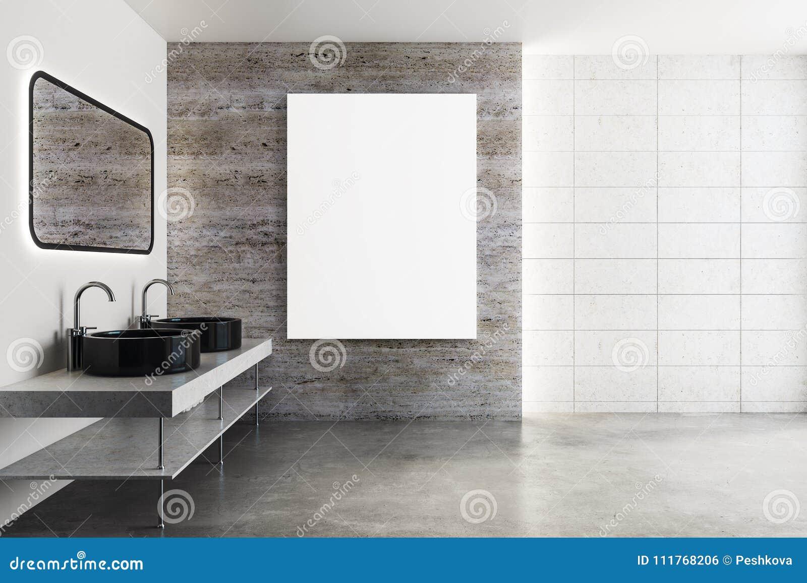 Bathroom Mirror Reflection. Modern Bathroom With Poster Mirror ...
