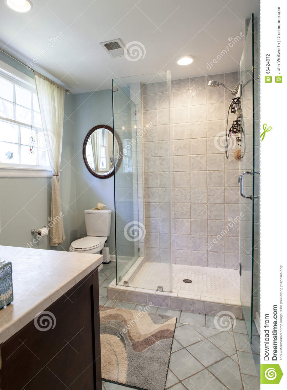 Bathroom Remodel Walk In Shower.Modern Bathroom Remodel With Shower And Tile Stock Photo