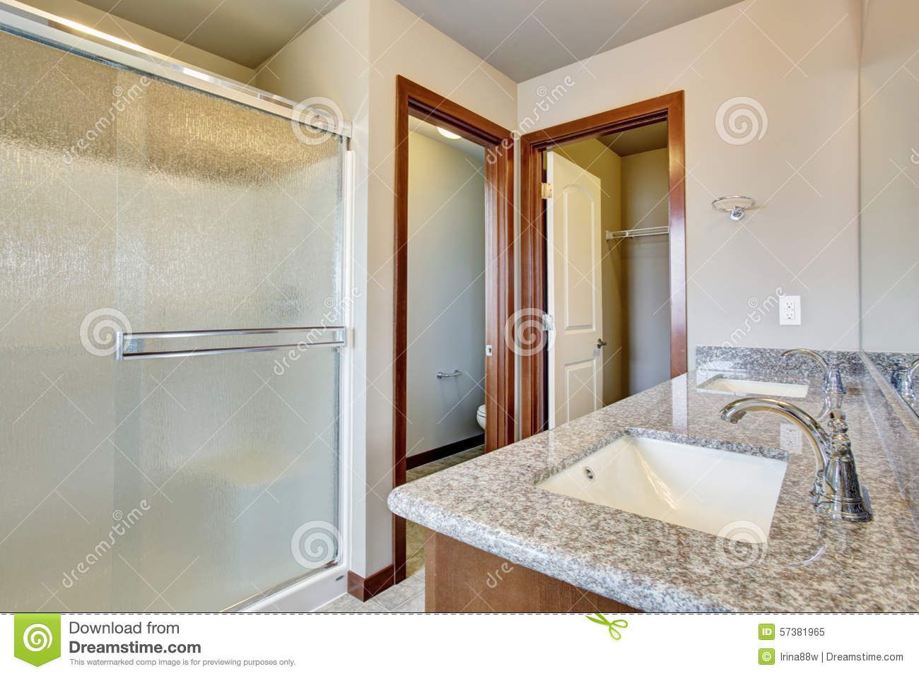 Modern bathroom with separate toilet room stock photo for Bathroom design 9x9