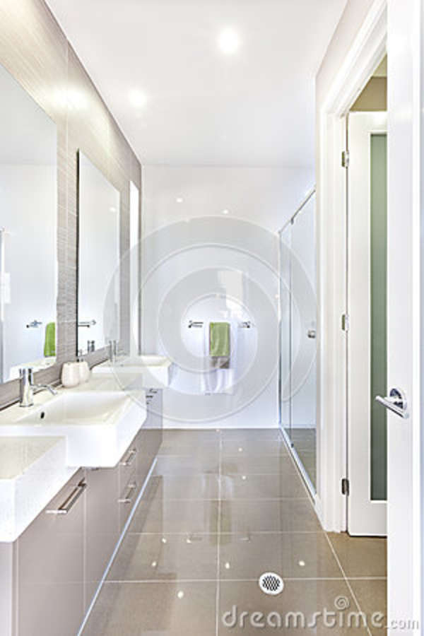 Modern Bathroom With Set Of Washstands And Bathroom Stock