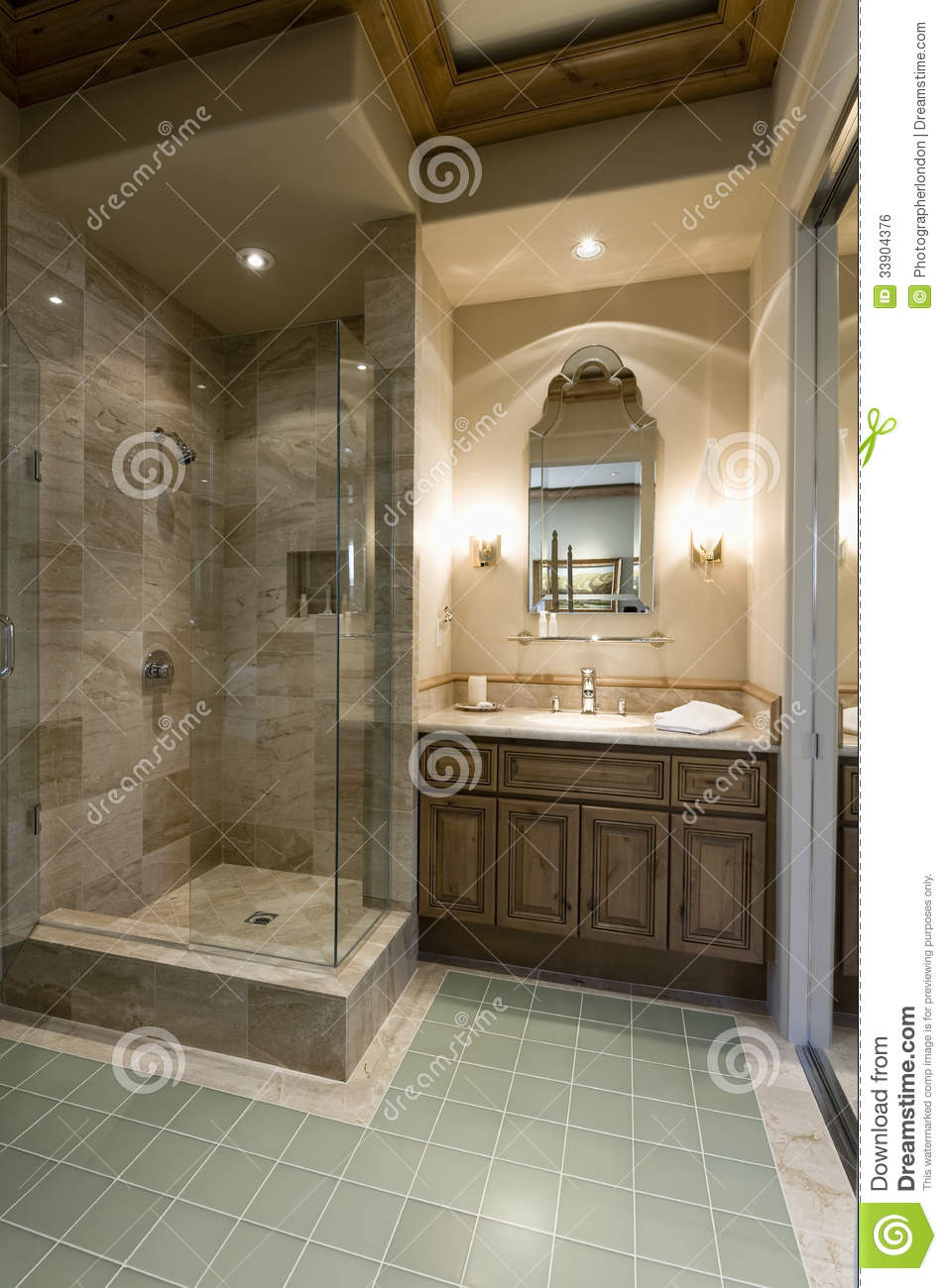Modern Bathroom With Shower Cubicle Stock Photo - Image of glass ...
