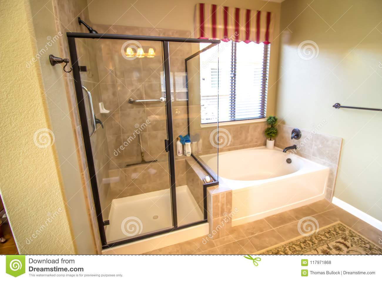 Modern Bathroom With Shower And Tub Stock Photo - Image of baseboard ...